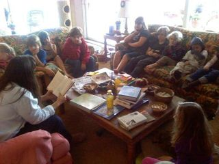 Patti reading to group