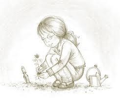 Girl planting-sketch